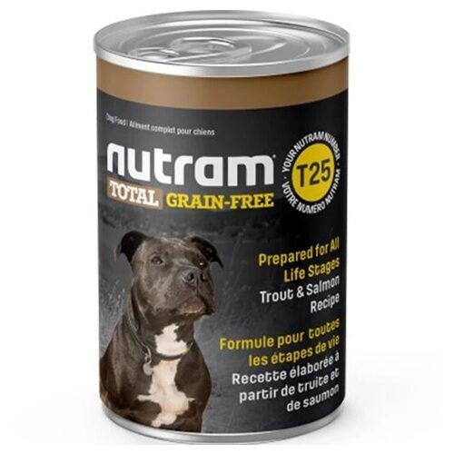 T25 NUTRAM TOTAL GRAIN FREE TROUT & SALMON DOG CANNED FOOD 369 G